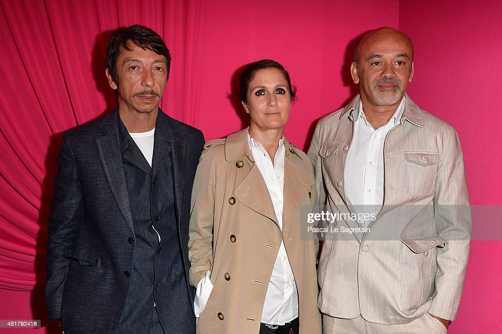Pierpaolo Piccioli, Maria Grazia Chiuri and Christian Louboutin attend the Schiaparelli show as part of Paris Fashion Week - Haute Couture Fall/Winter 2014-2015 on July 7, 2014 in Paris, France.