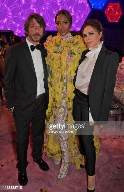 Pierpaolo Piccioli Naomi Campbell and Victoria Beckham attend the Fashion Trust Arabia Prize awards ceremony on March 28 2019 in Doha Qatar