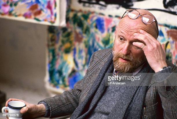 Pierre Alechinsky Belgian painter in his studio in Bougival in April 1982