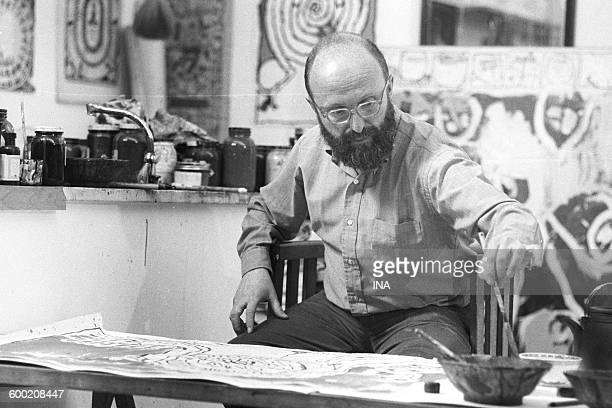Pierre Alechinsky in his workshop in Bougival for the program 'Forum of the arts'