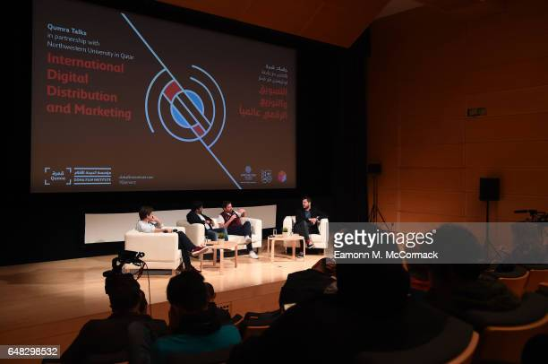 Pierre Alexandre Labelle Nader Sobhan and Industry guests on stage during the International Digital Distribution and Marketing discussion on day...