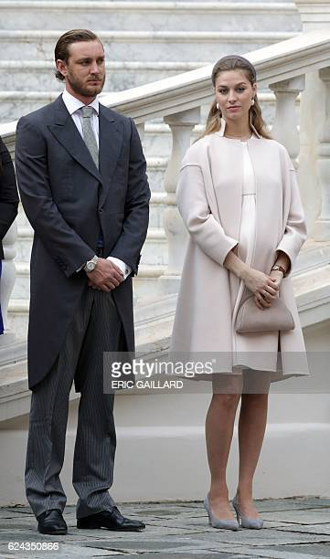 Pierre and Beatrice Casiraghi attend the celebrations marking Monaco's National Day at the Monaco Palace November 19 2016 / AFP / POOL / ERIC GAILLARD