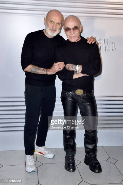 Pierre and Gilles attends the Jean-Paul Gaultier Haute Couture Spring/Summer 2020 show as part of Paris Fashion Week at Theatre Du Chatelet on...