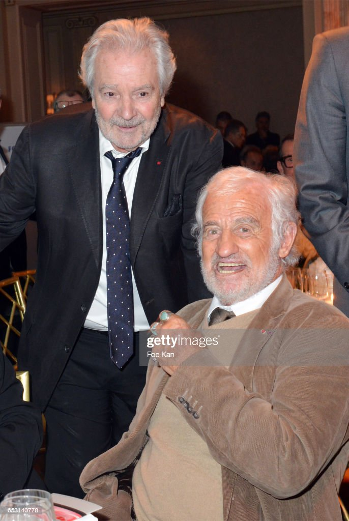 Pierre Arditi and Jean Paul Belmondo attend 'La Recherche en Physiologie' Charity Gala (Les Stethos D'Or La Soiree Des Stars) at Four Seasons Hotel George V on March 13, 2017 in Paris, France.
