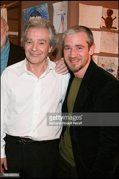 Pierre Arditi and son Frederic at The Theatre Production Tailleur Pour Dames At Theatre Edouard Vii In Paris Is Broadcast By The TV Chanel France 2
