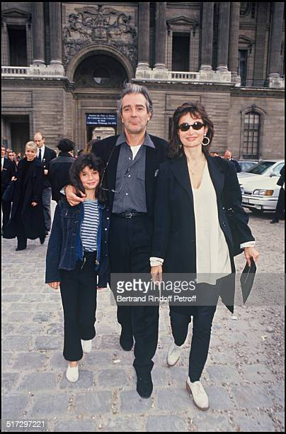 Pierre Arditi his wife Evelyne Bouix and Salome Lelouch Ready to wear fashion show spring summer 1994 collection in Paris