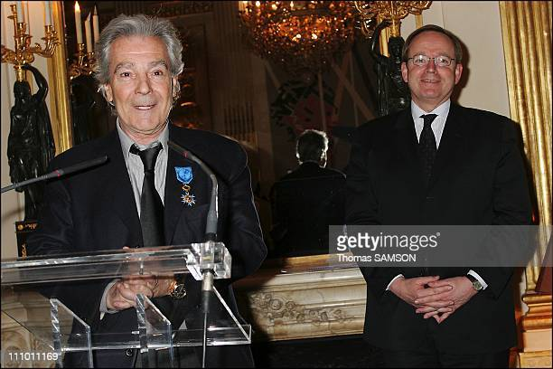 Pierre Arditi receives insignia the National Order of Merit Pierre Arditi and Culture Minister Renaud Donnedieu de Vabres in Paris France on March...