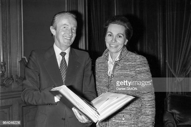 Pierre Arpaillange et MarieFrance Garaud à Paris le 6 novembre 1980 France