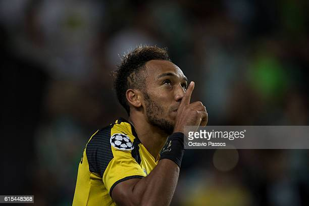 Pierre Aubameyang of Borussia Dortmund celebrates after scores a goal against SC Sporting during the UEFA Champions League match between SC Sporting...