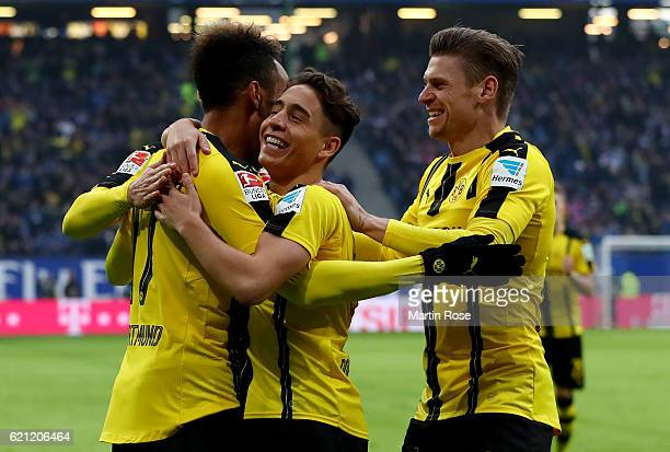 Pierre Aubameyang of Dortmund celebrates after scoring the opening goal during the Bundesliga match between Hamburger SV and Borussia Dortmund at...