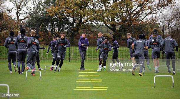 Pierre Barrieu during the Swansea City Training at The Fairwood Training Ground on November 16 2016 in Swansea Wales
