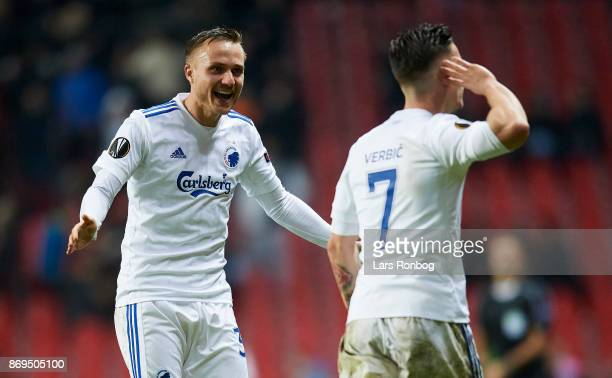 Pierre Bengtsson and Benjamin Verbic of FC Copenhagen celebrate after scoring their second goal during the UEFA Europa League match between FC...