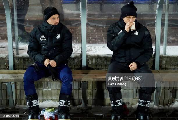 Pierre Bengtsson and William Kvist of FC Copenhagen on the bench prior to the Danish Alka Superliga match between Hobro IK and FC Copenhagen at DS...