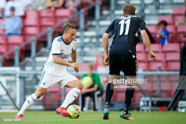 Pierre Bengtsson of FC Copenhagen and Peter Nymann of AC Horsens in action during the Danish Superliga match between FC Copenhagen and AC Horsens at...