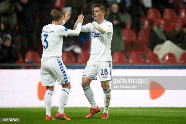 Pierre Bengtsson of FC Copenhagen and Pieros Sotiriou of FC Copenhagen celebrate the 40 goal from Pieros Sotiriou during the Danish Alka Superliga...