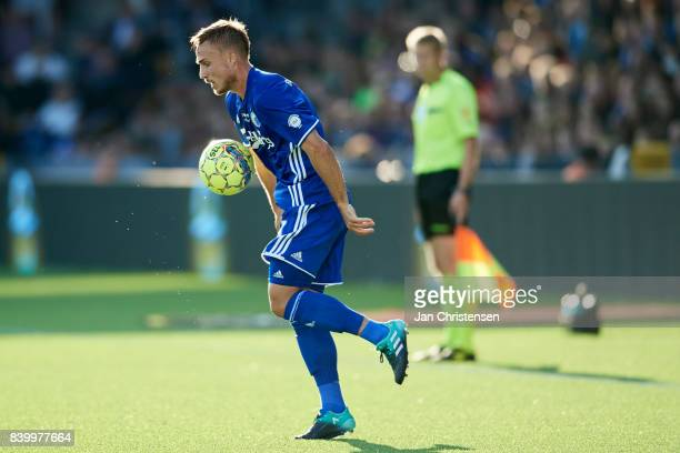 Pierre Bengtsson of FC Copenhagen controls the ball during the Danish Alka Superliga match between FC Nordsjalland and FC Copenhagen at Right to...