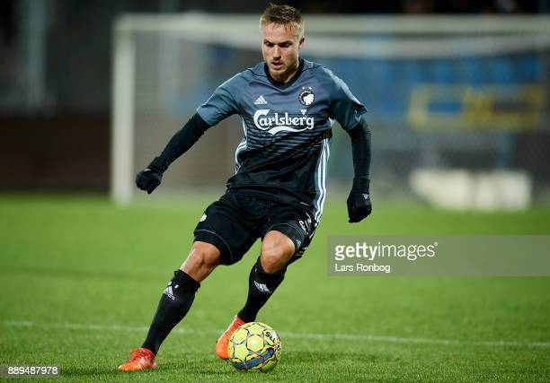 Pierre Bengtsson of FC Copenhagen controls the ball during the Danish Alka Superliga match between AaB Aalborg and FC Copenhagen at Aalborg Portland...