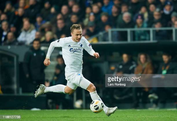 Pierre Bengtsson of FC Copenhagen controls the ball during the UEFA Europa League match between FC Copenhagen and Malmo FF at Telia Parken on...
