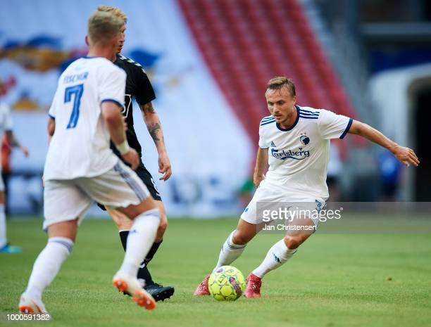 Pierre Bengtsson of FC Copenhagen in action during the Danish Superliga match between FC Copenhagen and AC Horsens at Telia Parken Stadium on July 16...