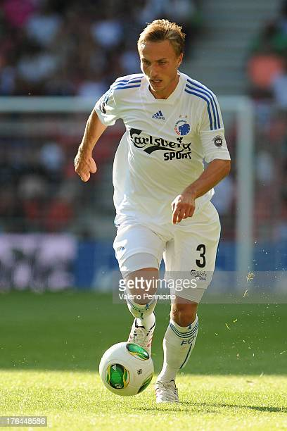 Pierre Bengtsson of FC Copenhagen in action during the Danish Superliga match between FC Copenhagen and Randers FC at Parken Stadium on August 4 2013...