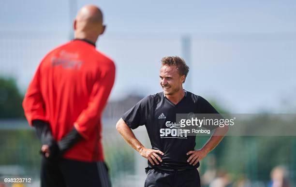 Pierre Bengtsson of FC Copenhagen speaks to Stale Solbakken head coach of FC Copenhagen during the FC Copenhagen training session at KB's baner on...