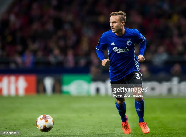 Pierre Bengtsson of FC Copenhague in action during the UEFA Europa League 201718 Round of 32 match between Atletico de Madrid and FC Copenhague at...