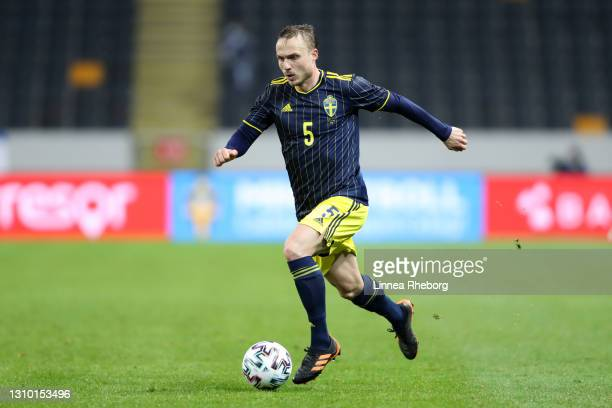 Pierre Bengtsson of Sweden runs with the ball during the International Friendly match between Sweden and Estonia at Friends Arena on March 31, 2021...