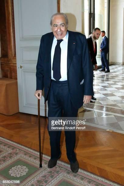 Pierre Benichou attends Claude Brasseur is elevated to the rank of Officier de la Legion d'Honneur at Elysee Palace on March 13 2017 in Paris France