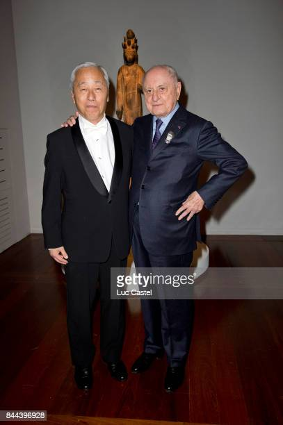 Pierre Berge and guest attend the 'Accelerated Buddha' Exhibition opening at Yves saintLaurent / Pierre Berge Foundation on 0ctober 07 2013 in Paris...