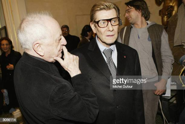 Pierre Berge and Yves Saint Laurent attend the opening of the Yves Saint Laurent Foundation on March 5 2004 in Paris France