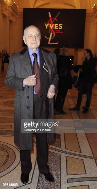 Pierre Berge attends the Yves SaintLaurent Exhibition Launch at Le Petit Palais on March 10 2010 in Paris France