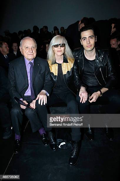 Pierre Berge Betty Catroux and JeanVictor Meyers Bettencourt attend the Saint Laurent show as part of the Paris Fashion Week Womenswear Fall/Winter...