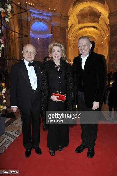Pierre Berge Catherine Deneuve and JeanPaul Gaultier attend an Yves SaintLaurent event at Petit Palais on March 09 2010 in Paris France