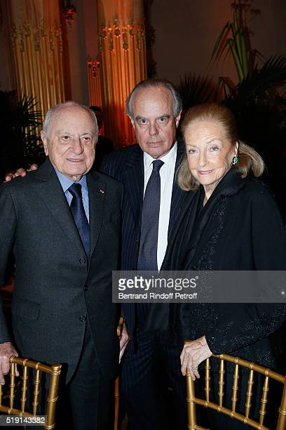 Pierre Berge Frederic Mitterrand and Doris Brynner attend the Societe des Amis du Musee D'Orsay Dinner and Private tour of the Exhibition Le Douanier...