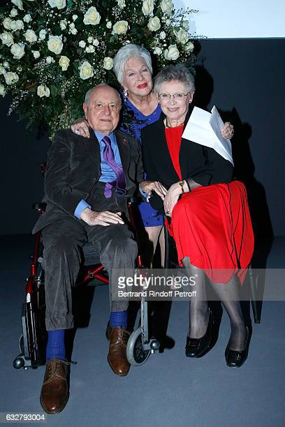 Pierre Berge Line Renaud and Francoise BarreSinoussi attend the Sidaction Gala Dinner 2017 Haute Couture Spring Summer 2017 show as part of Paris...