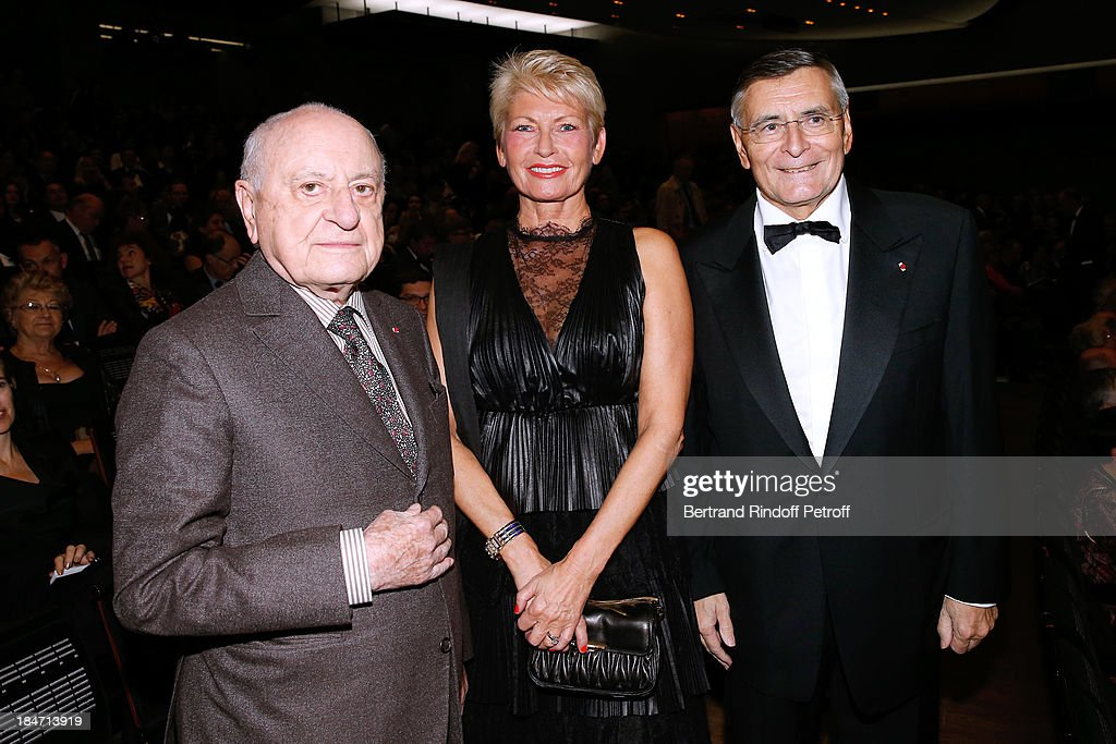 Pierre Berge, President of the Honorary Committee Miss Jean-Francois Theodore and CEO A.R.O.P. Jean-Louis Beffa attend AROP Gala at Opera Bastille with a representation of 'Aida' on October 15, 2013 in Paris, France.
