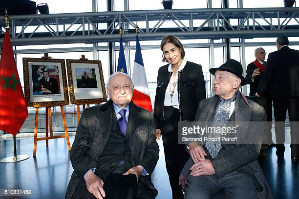 Pierre Berge Sociologist Edgar Morin and his wife attend King Mohammed VI of Morocco and French President Francois Hollande present the project to...