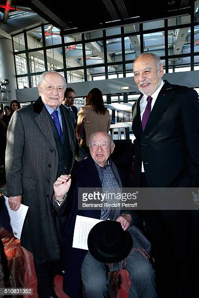 Pierre Berge Sociologist Edgar Morin and Writer Tahar Ben Jelloun attend King Mohammed VI of Morocco and French President Francois Hollande present...