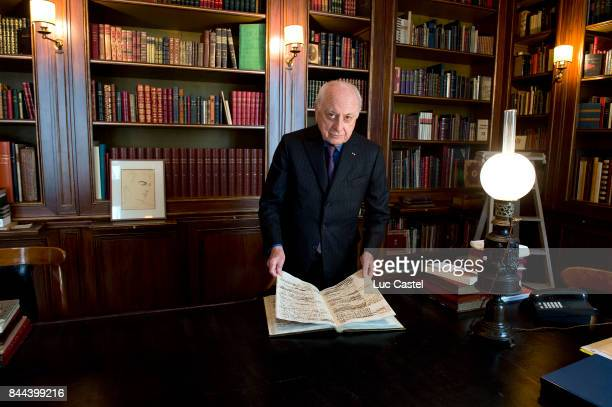Pierre Berge standing in his Library in street Bonaparte on October 19 2015 in Paris France