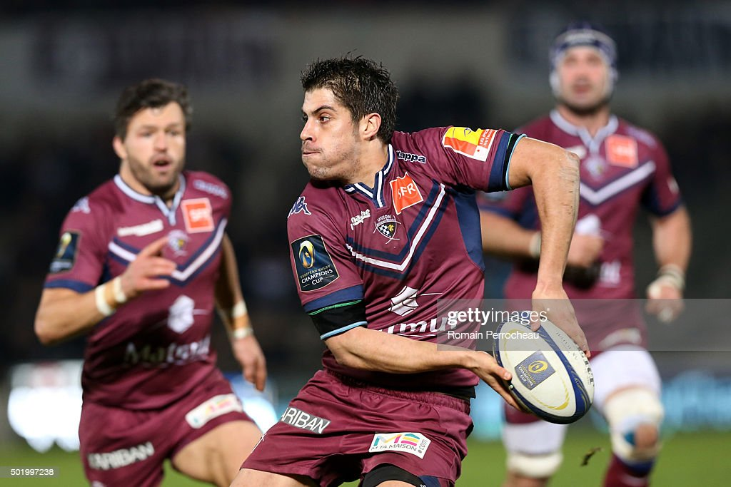 Pierre Bernard for Union Bordeaux Begles in action during the European Rugby Champions Cup match between Union Bordeaux Begles and Ospreys at Stade Chaban-Delmas on December 19, 2015 in Bordeaux, France.