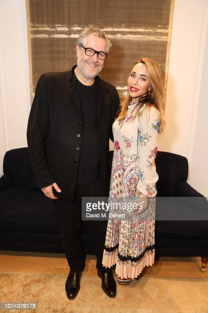 Pierre Bonnefille and Katia Francesconi attend a private view of 'Art Design' hosted by Magdalena Gabriel and Patrick Grant at Norton Sons on...