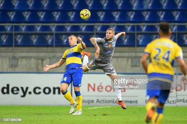 Pierre Bouby of Orleans and Thomas Robinet of Sochaux during the Ligue 2 match between Sochaux and Orleans at Stade Auguste Bonal on September 21...