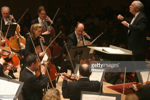 """Pierre Boulez conducts London Symphony Orchestra at Carnegie Hall on Saturday night, January 29, 2005.Pierre Boulez conducting Stravinsky's """"The Rite..."""