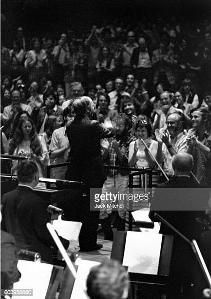 Pierre Boulez conducts one of his Rug Concerts in Philharmonic Hall in June 1973.