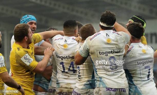 Pierre Bourgarit of La Rochelle stretches to grab Tom Curry around the face and is sent off by referee Andrew Brace during the Heineken Champions Cup...