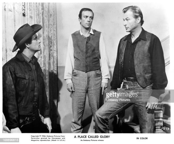Pierre Brice and Lex Barker in a scene from the film 'A Place Called Glory' 1965