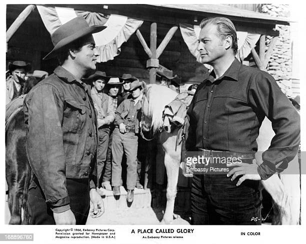 Pierre Brice encounters Lex Barker in a scene from the film 'A Place Called Glory' 1965