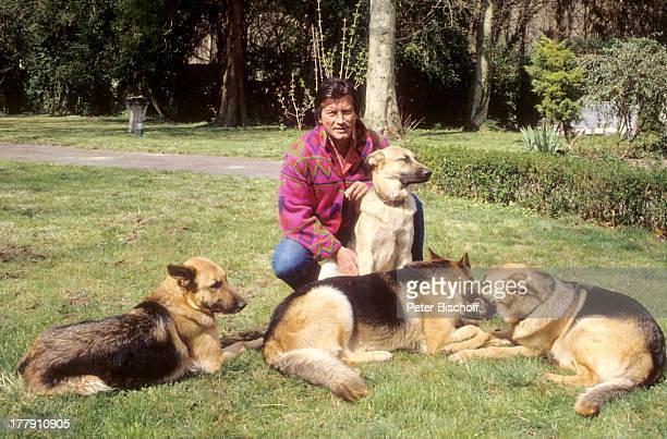 Pierre Brice mit Schäferhunden Homestory Landhaus Orleans bei Paris Frankreich Europa Tier Tiere Hund Hunde Schauspieler ProdNr 197/1990