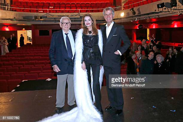 Pierre Cardin Actors of the piece Cyrielle Clair and Gerard Chambre pose after Le Retour De Marlene Dietrich Theater Play at Espace Pierre Cardin on...