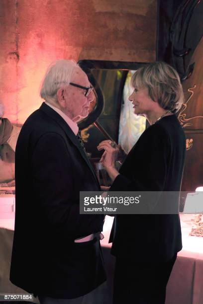 Pierre Cardin and Eve Ruggieri attend Eve Ruggieri signing copies of her book 'Dictionnaire Amoureux de Mozart' at Maxim's on November 16 2017 in...